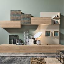 Contemporary living room wall unit / oak