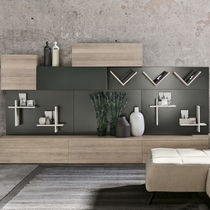Contemporary living room wall unit / oak / magnetically fixed