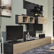 Contemporary TV wall unit / oak / metal / MDF