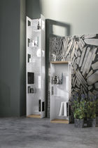 High bookcase / contemporary / oak / lacquered metal