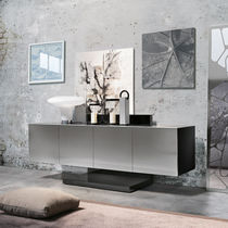 Wall-mounted sideboard / contemporary / stainless steel / lacquered metal