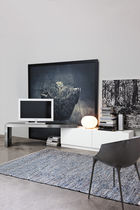 Contemporary TV cabinet / swivel / lacquered wood / stainless steel