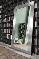 Free-standing mirror / contemporary / rectangular / stainless steel