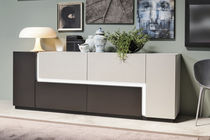 Contemporary sideboard / aluminum / lacquered aluminum / with shelf