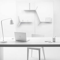 Wall-mounted shelf / original design / lacquered metal