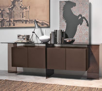 Contemporary sideboard / glass / lacquered glass