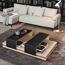 Contemporary coffee table / natural oak / iron / stainless steel
