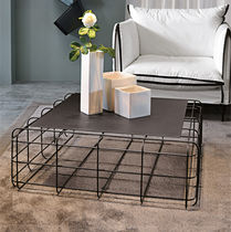 Contemporary coffee table / metal / square
