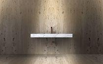 Wall-mounted washbasin / rectangular / marble / natural stone