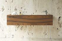 Wall-mounted washbasin / rectangular / natural stone / wood veneer