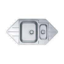 Double kitchen sink / stainless steel / corner / with drainboard