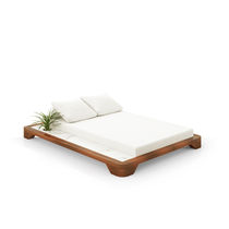 Contemporary sun lounger / fabric / teak / mahogany