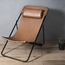 Contemporary armchair / leather / folding / brown