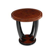 Art Deco Side Table / Wooden / Round