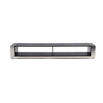 Contemporary TV cabinet / glass / stainless steel
