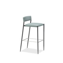 Contemporary bar stool / leather / stainless steel / lacquered steel