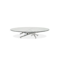 Original design coffee table / tempered glass / stainless steel / round