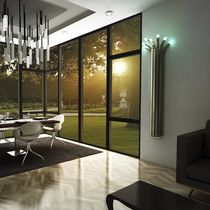 Hot water radiator / bamboo / original design / vertical