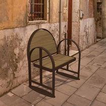 Wooden urban armchair / steel