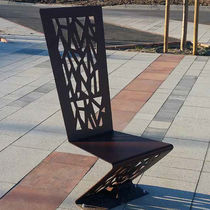 Contemporary chair / steel / high-back / for public areas