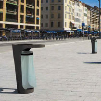 Public trash can / steel / contemporary / with built-in ashtray