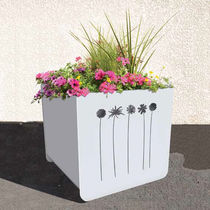 Steel planter / square / contemporary / for public spaces