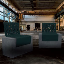 Contemporary chair / wooden / steel / concrete