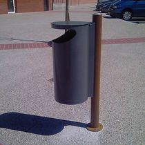 Public trash can / steel / cast iron / contemporary