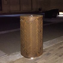Public trash can / stainless steel / sheet steel / with built-in ashtray