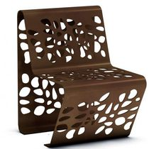 Contemporary chair / sheet steel / for public areas / outdoor