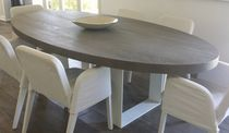 Contemporary dining table / oak / oval