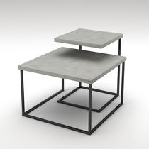 Contemporary nesting tables / painted steel / concrete / square