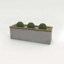Concrete planter / solid wood / rectangular / classic