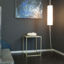 Contemporary side table / lacquered steel / concrete / square