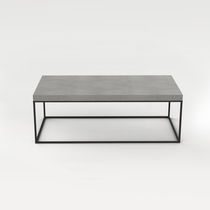 Modern coffee table / lacquered steel / concrete / rectangular