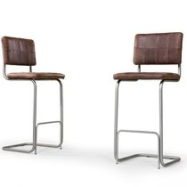 Contemporary bar chair / upholstered / cantilever / leather