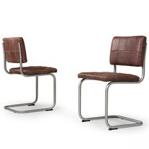 Contemporary chair / cantilever / metal / leather