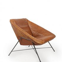 Contemporary armchair / metal / leather / brown