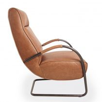 Contemporary armchair / metal / leather / cantilever