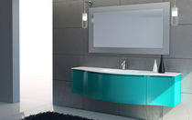 Laminate washbasin cabinet / contemporary / with mirror