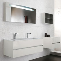 Double washbasin cabinet / wall-hung / glass / contemporary