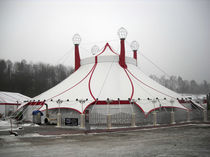 Metal frame supported tensile structure / for public spaces / with PVC membrane / for circuses