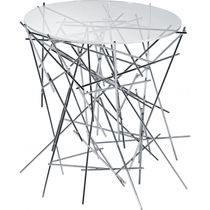 Contemporary side table / glass / steel / round