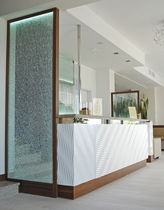 Corner reception desk / marble / glass / wooden