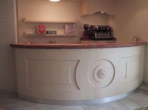 Bar counter / wooden / semicircular