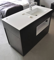 Free-standing washbasin cabinet / wooden / contemporary