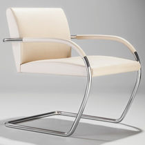 Bauhaus design armchair / leather / steel / for public buildings