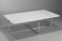 Bauhaus design coffee table / marble / steel / for public buildings