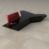 Modular upholstered bench / contemporary / Corian® / for public buildings