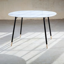 Contemporary coffee table / metal / Corian® / beech